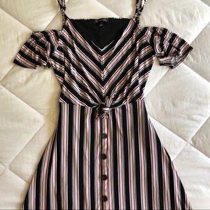INC Stripped Midi Cold Shoulder Dress | L